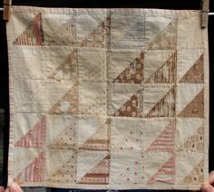 """Antique Late 1800's 19th C Doll Quilt Hand Pieced Patchwork 12"""" x 14""""           ...~♥~"""