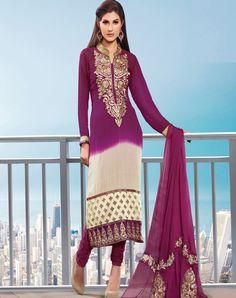 Purple Shade Georgette Salwar Kameez