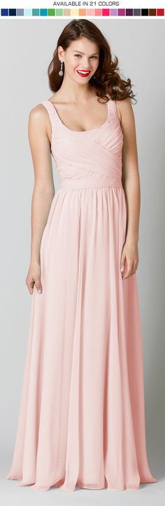 **Email us to request your free swatch(es)!**   What's not to love about a long chiffon bridesmaid dress in blush!?