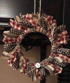 Small Mason Jar Rag Wreath Various Colors 4