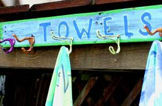 LARGE  Towel Hooks for Poolside or by offthewallpainting on Etsy, $48.00