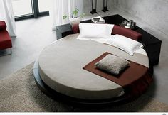 Round beds catch a stigma in most spaces, but there are some spaces that just revel in a nice, round bed design. Vig furniture design creates a whole slew of contemporary pieces for the home, with multiple round beds in their repertoire. Platform Bed Designs, Modern Platform Bed, Bed Platform, Modern Bedroom Furniture, Contemporary Bedroom, Home Furniture, Bedroom Decor, Funky Bedroom, Master Bedroom