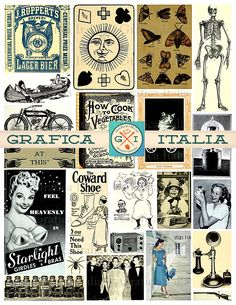 Vintage Ephemera Collage Sheet - Retro Clippings Old Advertisement - Clip Art Scraps for Scrapbooking Altered Art Clipart Printable Download by graficaitalia on Etsy