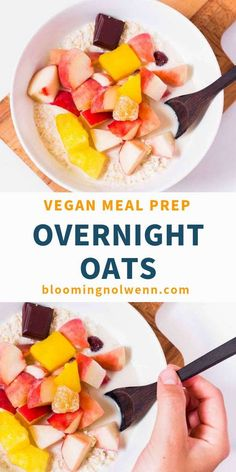 Easy Overnight Oats is a healthy, easy and delicious vegan breakfast idea! Overnight oatmeal is great for meal prep or for school and will keep you satisfied until lunchtime. Banana Oatmeal Recipe, Vegan Oatmeal, Healthy Breakfast Smoothies, Vegan Breakfast Recipes, Healthy Breakfasts, Healthy Snacks, Oats Recipes, Vegan Recipes, Vegan Porridge