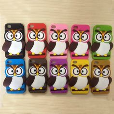 3D Cute Cartoon Owl Silicon Gel Soft Back Cover Case For iPhone 4 4s
