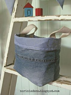 b8d93b4e59cf Fabric basket with handles from old jeans. I could use their old jeans   it  would be a keepsake to pass down to their children!