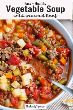 Easy vegetable soup with ground beef combines tender vegetables and savory ground beef in a flavorful broth to get mouthwatering hamburger soup, packed with protein, vitamins, and minerals. with ground beef healthy Easy Vegetable Soup with Ground Beef Beef Soup Recipes, Ground Beef Recipes, Healthy Recipes, Ground Beef Soups, Easy Recipes, Healthy Ground Beef, Healthy Soups, Dinner Healthy, Healthy Nutrition