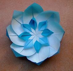 Liked on Pinterest: blue origami flower with white star | Flickr - Photo Sharing!