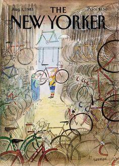 Jean-Jacques Sempé : Cover art for The New Yorker 3050 - 1 August 1983 The New Yorker, New Yorker Covers, Bicycle Illustration, Illustration Art, Cover Art, Michael Borremans, Plakat Design, Bike Poster, Bicycle Art