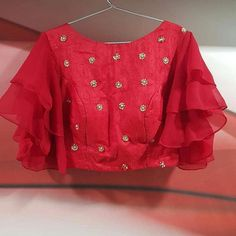 Ruffle Sleeves raw silk Blouse styled by Designer Blouse Ideas DM for promotions and credits ❤ . Stylish Blouse Design, Fancy Blouse Designs, Blouse Neck Designs, Blouse Styles, Blouse Designs Lehenga, Blouse Designs Wedding, Saree Blouse Models, Net Saree Blouse, Churidhar Neck Designs