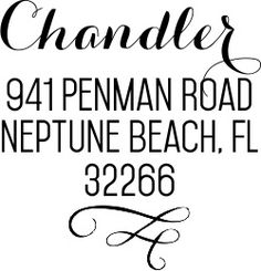 The square Chandler address stamp's semi-formal design is perfect for invitations or everyday mail.