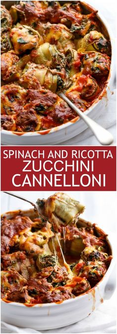 Rich and creamy spinach and ricotta stuffed inside Zucchini tubes to make a guilt free and healthy dinner! Pasta Recipes, Low Carb Recipes, Real Food Recipes, Vegetarian Recipes, Cooking Recipes, Healthy Recipes, Radish Recipes, Pescatarian Recipes, Spinach Recipes