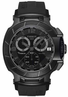 eeef28addf7 Tissot T-Race men s Swiss made chronograph sport watch has Arabic numbers  on black dial with black PVD coating along with a black rubber strap.