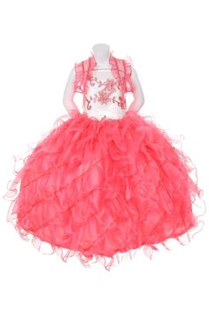 c71b523b8f8 Ivory and Coral Ruffled Pageant Dress. Coral Flower Girl ...