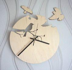 Wood wall clock/ Bird siluet clock/ Unique wall clock / Modern wooden clock on Etsy, $44.11