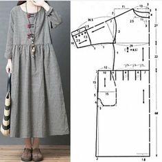 Linen Dress Pattern, Dress Sewing Patterns, Clothing Patterns, Pattern Sewing, Free Pattern, Pattern Cutting, Pattern Drafting, Fashion Sewing, Diy Fashion