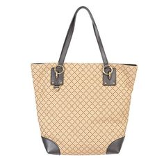 Gucci Women's Beige Canvas Leather Trimmed Tote Shoulder Handbag