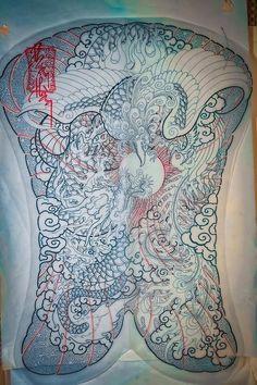 Japanese Artwork, Japan Tattoo, Buddhist Art, Lunges, Stencils, Tapestry, Bird, Tattoos, Design