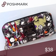 "The Nightmare Before Christmas Wallet by Disney New Disney The Nightmare Before Christmas wrap around wallet. Faux pebble leather material with NBC characters.  It's a zip around wallet and Measures: 8""x 4 "" bag sold separately. 🚫No trades or 🚫Holds Disney Bags Wallets"