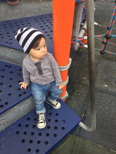 cute toddler boy style / clothes / beanie / converse / stripes