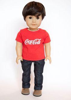 American Boy doll upcycled Coca-Cola T shirt - red by EverydayDollwear on Etsy