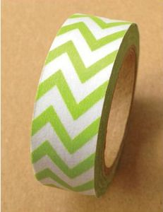 New! Thin Lime Green Chevrons Washi Tape - Love My Tapes