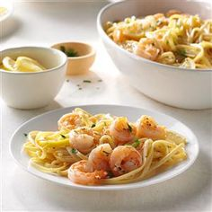 Lemon Shrimp Linguine Recipe -I like recipes with elegant taste and easy technique like this lemony shrimp pasta. Bring on the Parmesan and a sprinkle of red pepper flakes. —Patty Walker, West Des Moines, Iowa
