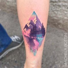 mountain watercolor tattoo on calf Would love this on shoulder or to cage with hidden sandrail outline.