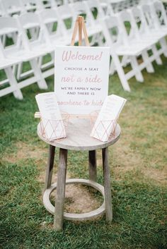 Nothing like a little humor to bring two new families together at your wedding ceremony! Custom choose a seat sign by Miss Design Berry