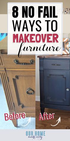 Found old furniture and want to bring it back to life? These 8 no-fail options will bring joy back to your piece and make it perfect for your home! So many great DIY furniture makeover ideas! makeover diy 8 No Fail Ways to Update Old Furniture Diy Furniture Renovation, Diy Furniture Easy, Diy Garden Furniture, Do It Yourself Furniture, Diy Furniture Projects, Refurbished Furniture, Repurposed Furniture, Home Decor Furniture, Furniture Update