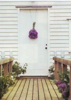 front door, in white and purple