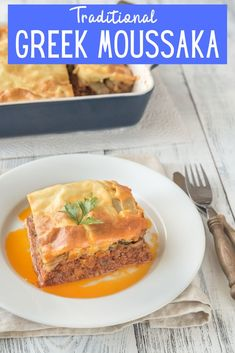 Try this traditional Greek recipe for moussaka. The wonderful combination of meat, sauce, and eggplant topped with a rich bechamel sauce. This flexible dish can be made as vegetarian dish as well.  #MoussakaRecipe #GreekRecipe