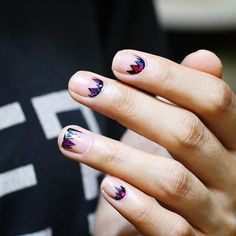 LOVE this minimalist nail desing that looks like stained glass windows!