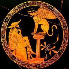 Oedipus and the Sphinx. Attic red figure kylix 470 BCE.