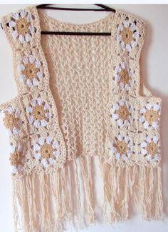 Crochet Vest Pattern, Lace Knitting Patterns, Crochet Tank Tops, Crochet Blouse, Crochet Waistcoat, Crochet Woman, Easy Knitting, Cute Crochet, Crochet Clothes
