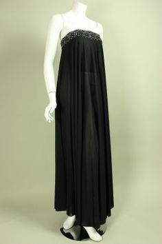 1970's Black Pucci Gown with Rhinestone Accents | From a collection of rare vintage evening dresses at http://www.1stdibs.com/fashion/clothing/evening-dresses/
