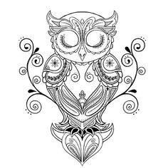 Thigh Tattoos for Women: Desigs & Ideas Tattoo Drawings, Body Art Tattoos, Art Drawings, Owl Tattoos, Tattoo Owl, Quill Tattoo, Circle Tattoos, Arm Tattoo, Fish Tattoos