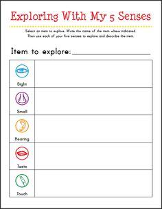 5 senses activities for preschoolers - Free printable Exploring With My 5 Senses worksheet || Gift of Curiosity