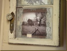 old window ~ use lace with old photos...when i look at this, i feel like i Am looking out a window with lace curtains