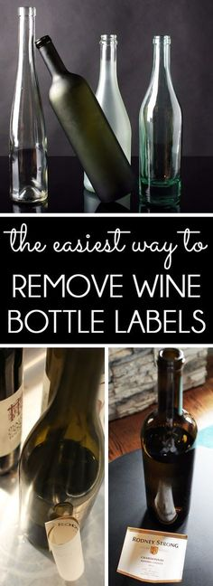 The fastest way to remove labels from wine bottles or glass jars with no mess and without tearing the labels. Perfect for wine bottle upcycle DIYs or craft projects that reuse the labels (Bottle Label) Remove Wine Bottle Labels, Remove Labels, Wine Bottle Label Removal, Glass Bottle Crafts, Wine Bottle Art, Decorative Wine Bottles, Crafts With Wine Bottles, Painting Wine Bottles, Reuse Wine Bottles