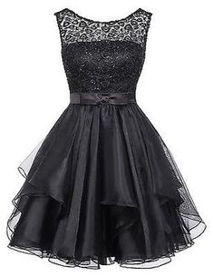 Neu Schwarz Minikleid Kurze Spitze Abendkleid Partykleider Ballkleid gr 32  34 36 Kleid 1b7571e8ea
