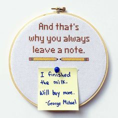 """""""And that's why you always leave a note."""" - Arrested Development bulletin board embroidery hoop by BananyaStand on Etsy"""