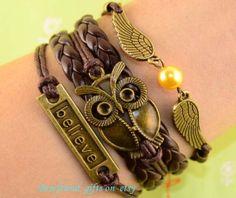 Unique large owl bracelet best friend by Bestfriendgiftshop, $5.99