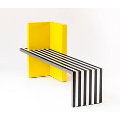 Memphis Inspired Bench, Neo Laminati Collection (€4.061) ❤ liked on Polyvore featuring home, furniture, benches, black and white furniture, yellow furniture and black and white bench