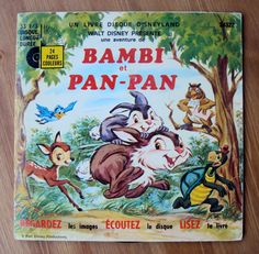 Bambi et Pan-Pan (1979) Book and Record by Walt Disney Productions - Vintage French Childrens Book