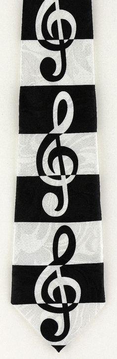New Striped G Clef Mens Necktie Musical Sheet Stripes Music Black White Neck Tie #StevenHarris #NeckTie