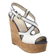 Women's Nine West Boushie Wedge Sandals: Navy and White Cork Wedges Crazy Shoes, Me Too Shoes, Wedge Sandals, Wedge Shoes, Parisian Chic, Pretty Shoes, Shoe Closet