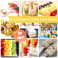 Mini hotdogs on sticks, frozen banana with yoghurt, cinnamon and almonds, sugar cookies with sweetened cream cheese and fruit... Rainbow fruit platter...