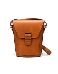 Zara - camel firm leather messenger bag - $79