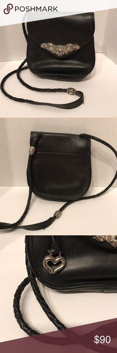 8343ab13f994 Brighton Black Crossbody Handbag Gorgeous Vintage Black Brighton Handbag  with Silver Hardware. Leather braided shoulder